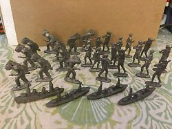 Lot Of 28 Vintage 2 Cast Metal Lead Unpainted Toy Indians Soldiers And Ship Fig