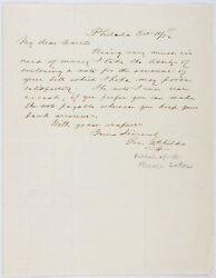 George W. Childs - Autograph Letter Signed 10/11/1852