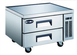 Saba 36 Commercial Stainless Steel Chef Base Refrigerator, 2 Drawers Food Prep