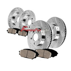 Front And Rear Drill Slot Brake Rotors And Ceramic Pads For Jeep Grand Cherokee