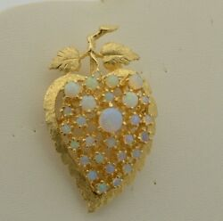 CW235        14k SOLID  GOLD  VINTAGE CLUSTER OF OPALS   BROOCH PIN