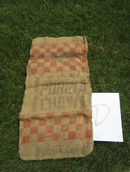 Vintage Advertising Purina Chows Micro Mix Brown Burlap Feed Sack Bag 50 D