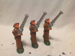 Vintage Barclay Lead Military Figures Toy Soldiers- 3 Rocket Launchers