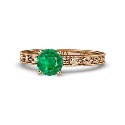 Emerald Heart Embossed Solitaire Ring 0.72 Ct In 14k Rose Gold Jp119479