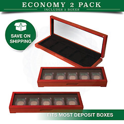 2 Coin Boxes For Certified Slabs Clear Top Safe Deposit Storage Set Collection