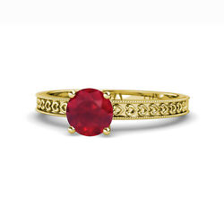 Ruby Heart Solitaire Engagement Ring 0.95 Carat In 14k Yellow Gold Jp120127