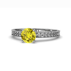 Yellow Diamond Heart Solitaire Engagement Ring 1.00 Ct 14k White Gold Jp120138