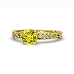 Yellow Diamond Heart Solitaire Engagement Ring 1 Ctw 14k Yellow Gold Jp120139