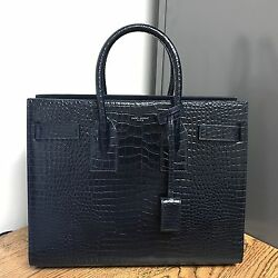 Yves YSL Classic Sac de Jour Bag Color Navy Crocodile Embossed Patent Leather