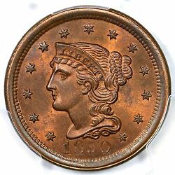 1850 N-9 R2 Pcgs Ms65rb Braided Hair Large Cent Coin 1c