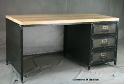 Modern Industrial Desk With Drawers. French Industrial Design. Urban Office