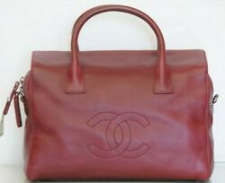 New Classic Large Zip Shopping Tote Burgundy Red Grainy Leather Bag Cc