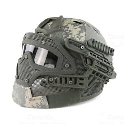 Tactical Protective Googles G4 System Full Face Mask Helmet Molle Paintball Acu