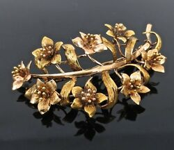 Vintage En Tremblant 18k Rose And Yellow Gold Spinning Flower Brooch