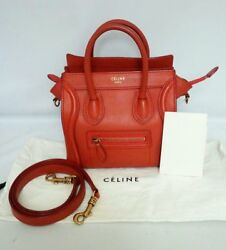 Auth Celine Nano Luggage Tote Red Pebbled Leather Shoulder Crossbody Bag