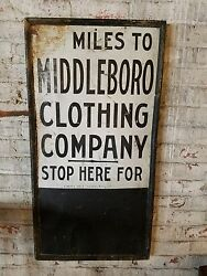 Antique Middleboro Clothing Company Sign Ithaca Sign Works