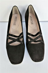 New Anyi Lu Brown Ladies Suede Mid Heel Shoes Size 37 ½ Us 7