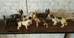 Set of 7 Antique Cast Iron Hubley Dogs Terrier Pointer Bulldog