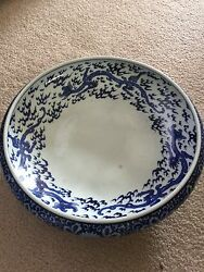 Antique 1800's Chinese Blue And White Porcelain Tripod Footed Large Dragon Bowl