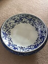 Antique 1800andrsquos Chinese Blue And White Porcelain Tripod Footed Large Dragon Bowl