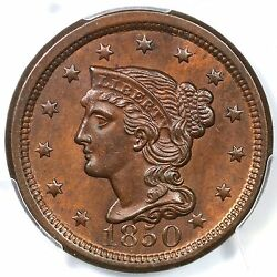 1850 N-22 Pcgs Ms63rb Braided Hair Large Cent Coin 1c Tcc2