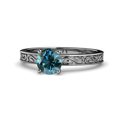 Blue Diamond Scroll Solitaire Engagement Ring 1.00 Ct 14k White Gold Jp120457