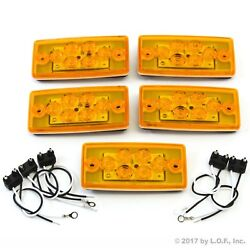 5 Rectangle Cab Light Roof Clearance Marker 6 Led Amber Truck Fits Volvo