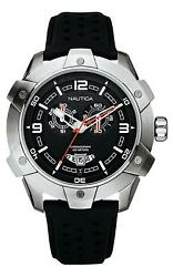 Nautica Menand039s Nst100 Large Chronograph Watch A32516g Black Leather Strap Bnwt