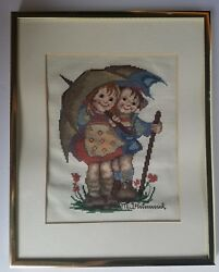Completed Hummel Cross Stitch Professionally Framed 11 X 14 Boy And Girl In Rain