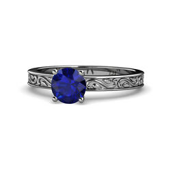 Blue Sapphire Scroll Solitaire Engagement Ring 0.95 Ct 14k White Gold Jp120400