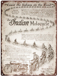 1913 Indian Motorcycle Advertising Ad Baked Metal Repro Sign 9x12 60145