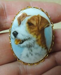 Gold JACK TERRIER DOG CAMEO PIN BROOCH - Ladies - Russell