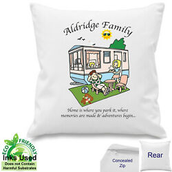 Caravan Personalised Canvas Cotton Cover Park Home Camping Gift 18 X 18