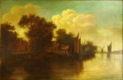 19th Century Dutch Landscape Depicting A Landscape With Boats And Windmills.