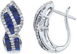14K White Gold Rectangle Sapphire & Diamond Swirl Earrings