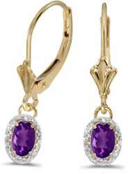 14k Yellow Gold Oval Amethyst And Diamond Leverback Earrings E3461x-02
