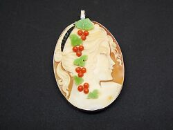 Master Hand Carved Comesso Carnelian Conch Shell Pendant Set In Silver