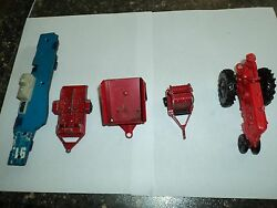 One Tonka Two Tootsie Toy One Ertal And Plastic Farm Tractor Lot Of Five