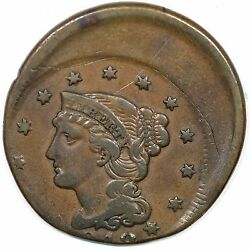 1848 N-18 R-4 Struck Off-center Braided Hair Large Cent Coin 1c