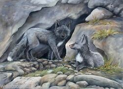Sue Coleman Painting Wolf Cubs Listed Canadian Artist Wildlife Art