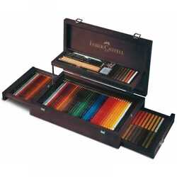 Faber-castell Art And Graphic Collection In A Mahogany Veneer Wooden Case - 110086