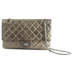 Chanel Classic Quilted Reissue 2.55 Metallic Gold Bronze Maxi handbag crossbody