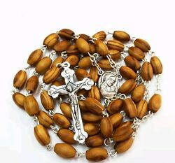Hand Crafted Olive Wood Rosary With Holy Land Earth/free Jerusalem Box And Booklet