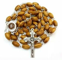 Hand Made Olive Wood Rosary With Holy Soil From Jerusalem,free Gift Boxand Booklet