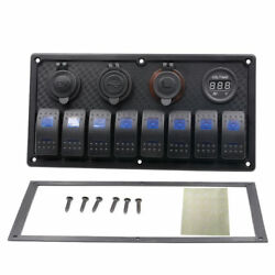 TOP 8-Gang Rocker Switch Panel Voltmeter Double USB For Marine Boat Car Truck RV