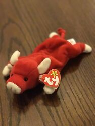 """Rare Ty """"snort"""" Beanie Baby 1995 -- Retired, Original, With Tags, 7 Errors"""