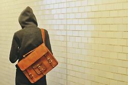 Leather Vintage Messenger Shoulder Men Satchel S Laptop School Briefcase Bags $40.91