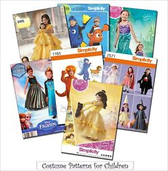 Sewing Pattern Kids#x27; Costumes Disney Princesses Elsa Anna Dorothy Ariel Beauty