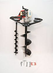 2 Man Hand Held Post Hole Digger / Earth Auger W/ 4 And 10 Bits 63 Cc 3 Hp Epa