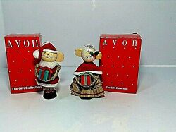 The Gift Collection Santa And Mrs Claus Mice Straw Ornaments Vtg Avon